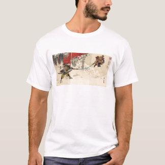 Camiseta Combate do samurai na neve cerca de 1890