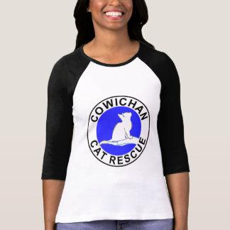 Camiseta Combinado: logotipo/gato preto, suficiência branca