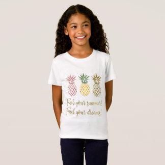 Camiseta Combustível do abacaxi do brilho do ouro sua