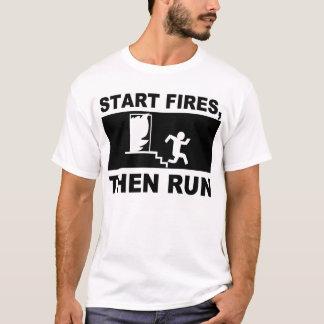 Camiseta Comece fogos, a seguir funcionamento