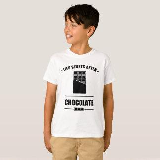 Camiseta Começos da vida após o CHOCOLATE