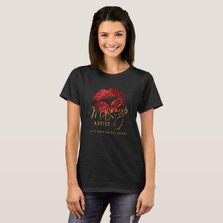 Camiseta Compo os lábios vermelhos do brilho do artista