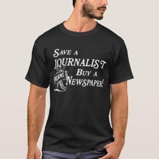 Camiseta Compre o jornal salvar o journalista T escuro