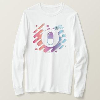 Camiseta Comprimido do inclinação das mulheres. Luva longa