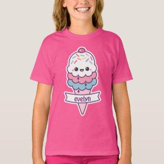 Camiseta Cone cor-de-rosa bonito do sorvete