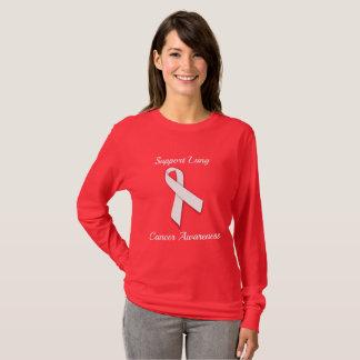 Camiseta Consciência do câncer pulmonar do apoio - luva