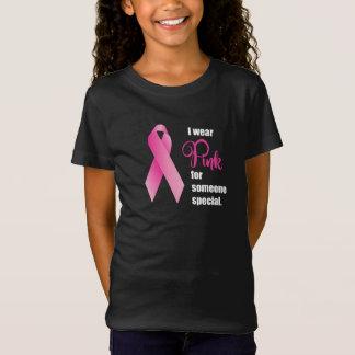 Camiseta Consciência do cancro da mama. Fita cor-de-rosa