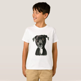 "Camiseta ""Contemplando"" a pintura do cão do pitbull"