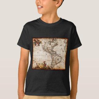 Camiseta Continente do mapa velho de América