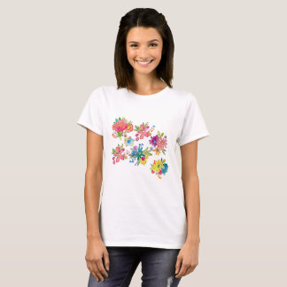 Camiseta Cor de água floral