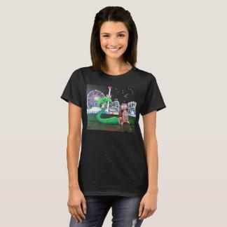 Camiseta Cor escura do corte das senhoras da sereia de