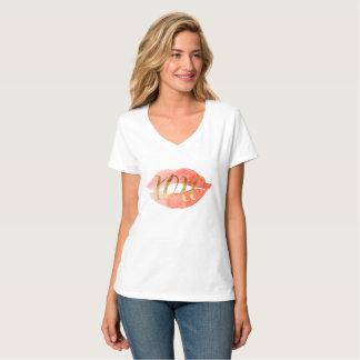 Camiseta Cora o beijo cor-de-rosa da aguarela do ouro XOXO