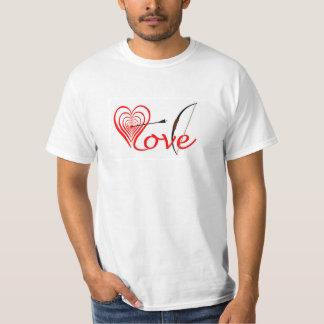 Camiseta Coração amor alvo com seta e arco