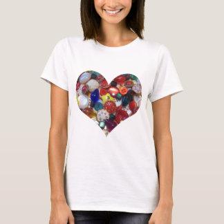 Camiseta Coração animador do botão do Natal