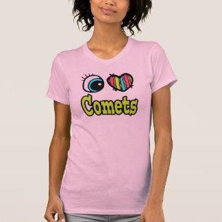 Camiseta Coração brilhante do olho eu amo cometas