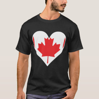 Camiseta Coração canadense da bandeira