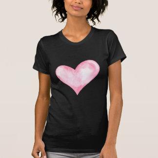 Camiseta Coração cor-de-rosa da aguarela, presente dos