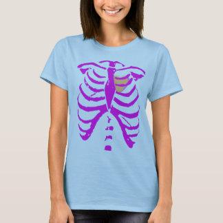Camiseta coração cor-de-rosa/roxo 3 da caixa torácica com