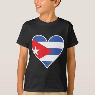 Camiseta Coração cubano da bandeira