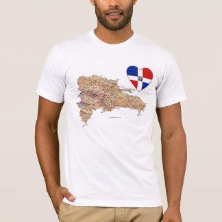Camiseta Coração da bandeira da República Dominicana e