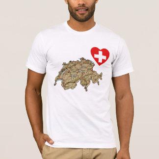 Camiseta Coração da bandeira da suiça e t-shirt do mapa