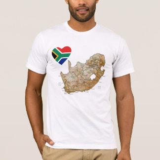 Camiseta Coração da bandeira de África do Sul e t-shirt do