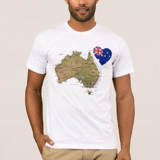 Camiseta Coração da bandeira de Austrália e t-shirt do mapa