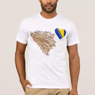 Camiseta Coração da bandeira de Bósnia - de Herzegovina e