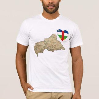 Camiseta Coração da bandeira de Centrafrique e t-shirt do