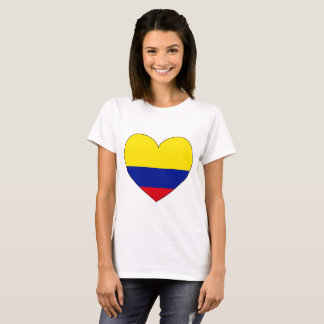 Camiseta Coração da bandeira de Colômbia