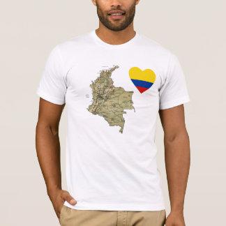 Camiseta Coração da bandeira de Colômbia e t-shirt do mapa