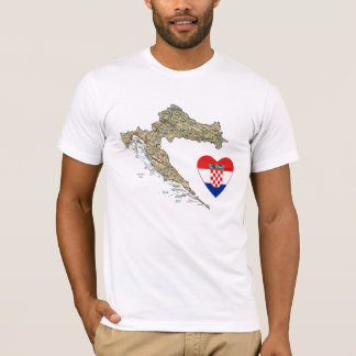 Camiseta Coração da bandeira de Croatia e t-shirt do mapa