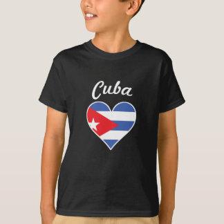 Camiseta Coração da bandeira de Cuba
