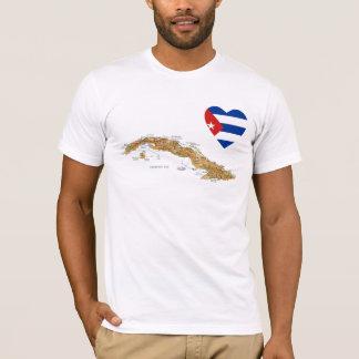 Camiseta Coração da bandeira de Cuba + T-shirt do mapa