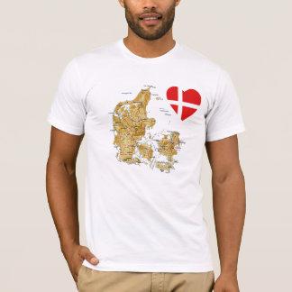 Camiseta Coração da bandeira de Dinamarca e t-shirt do mapa