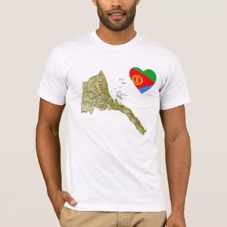 Camiseta Coração da bandeira de Eritrea e t-shirt do mapa