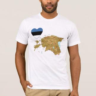 Camiseta Coração da bandeira de Estónia e t-shirt do mapa