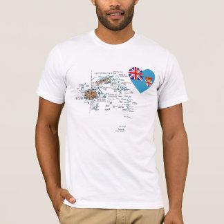 Camiseta Coração da bandeira de Fiji e t-shirt do mapa