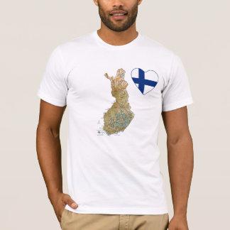 Camiseta Coração da bandeira de Finlandia e t-shirt do mapa