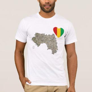 Camiseta Coração da bandeira de Guiné-Conakry e t-shirt do