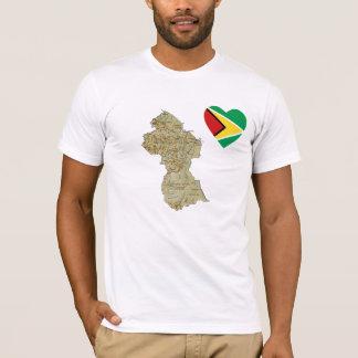 Camiseta Coração da bandeira de Guyana e t-shirt do mapa