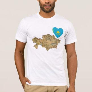 Camiseta Coração da bandeira de Kazakhstan e t-shirt do