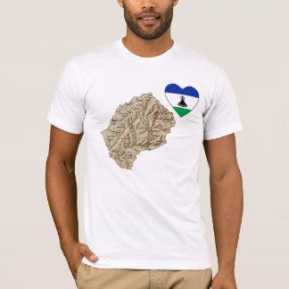 Camiseta Coração da bandeira de Lesotho e t-shirt do mapa