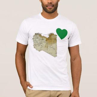 Camiseta Coração da bandeira de Líbia e t-shirt do mapa