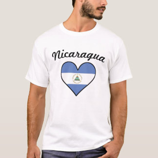 Camiseta Coração da bandeira de Nicarágua