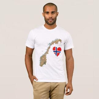 Camiseta Coração da bandeira de Noruega e t-shirt do mapa
