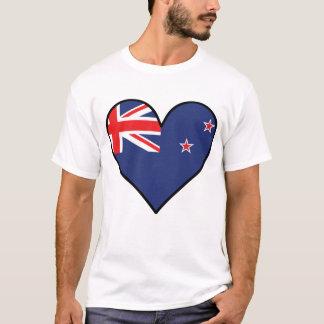 Camiseta Coração da bandeira de Nova Zelândia