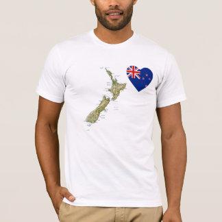 Camiseta Coração da bandeira de Nova Zelândia e t-shirt do