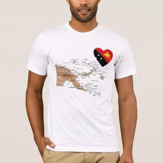 Camiseta Coração da bandeira de Papuá-Nova Guiné e t-shirt
