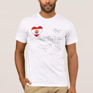 Camiseta Coração da bandeira de Polinésia francesa e